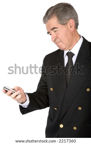business man sending an sms over a white background