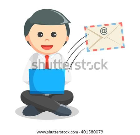 Business man sending mail - stock photo