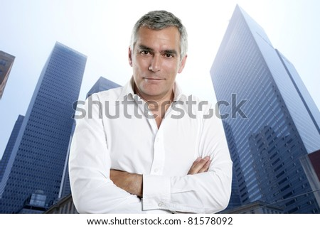 Business man senior portrait in a modern city downtown buildings [Photo Illustration] - stock photo