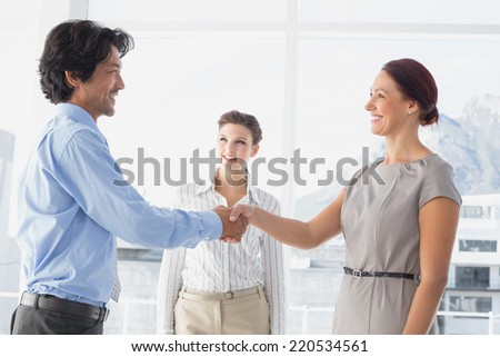 Business man shaking colleagues hand while smiling - stock photo