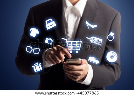 Business man shopping online using his mobile phone
