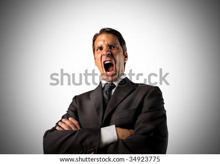 business man shouting - stock photo
