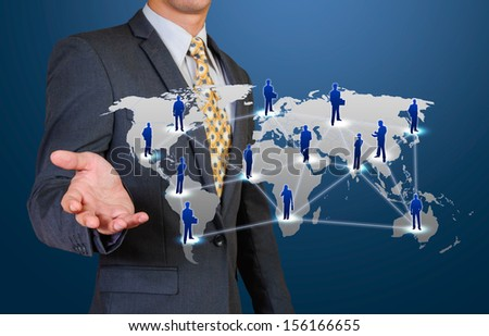 business man show global connection - stock photo