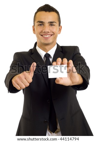 Business man showing a blank business card and giving the ok
