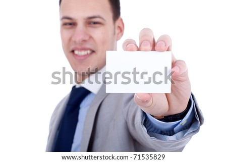 business man showing a blank business card over white - stock photo