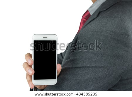 Business man showing a blank phone screen for copy space isolated on white background with clipping path - stock photo