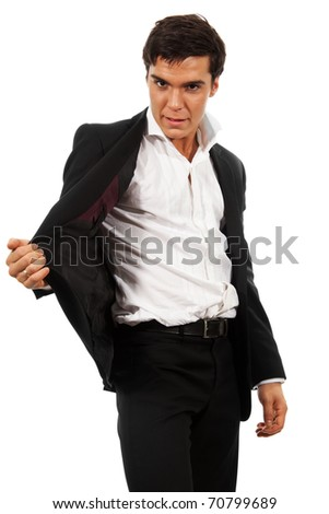 Business man showing a magic trick, isolated on white - stock photo