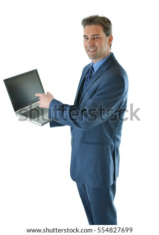 Business man showing a presentation on laptop