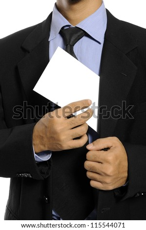 Business man showing blank envelope isolated over white background. You can put your message on the envelope