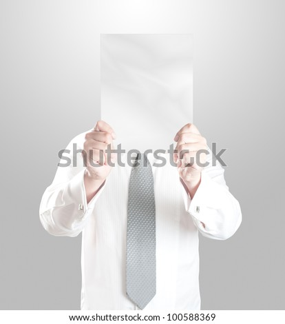 Business man showing blank paper - stock photo