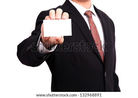 business man showing business card - stock photo