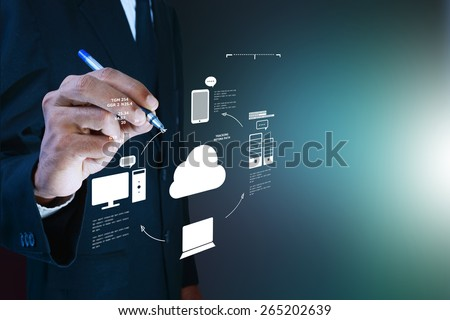 Business man showing concept of cloud computing. - stock photo