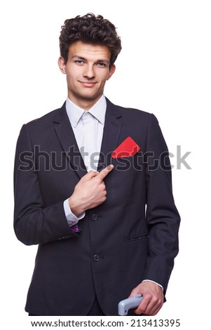 Business man showing empty blank paper card sign with copy space for text, isolated on white background. - stock photo