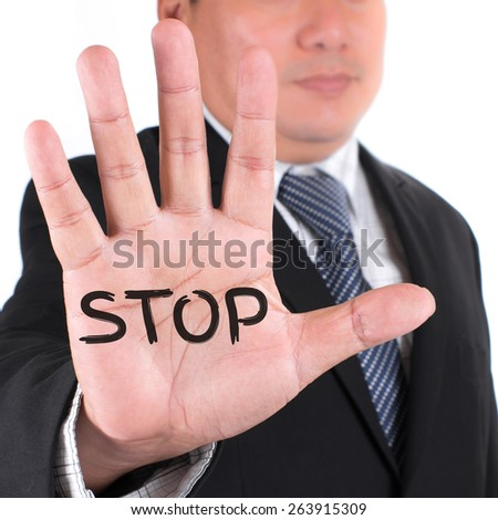 Business man showing five fingers. - stock photo