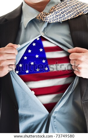 Business man showing  flag shirt - stock photo