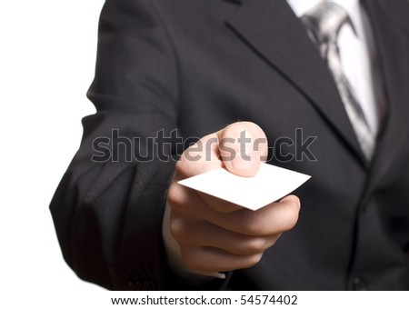 business man showing his business card isolated on white - stock photo