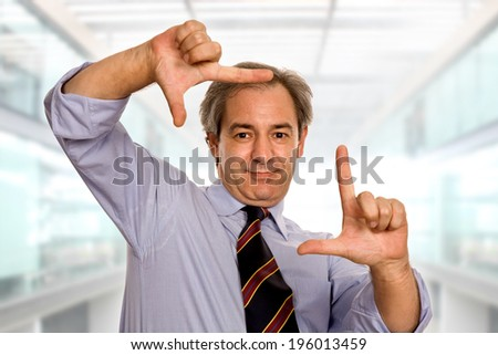 business man showing his hands, at the office - stock photo