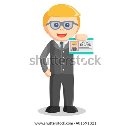 Business man showing id card