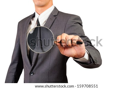business man showing magnify glass,isolated white background - stock photo