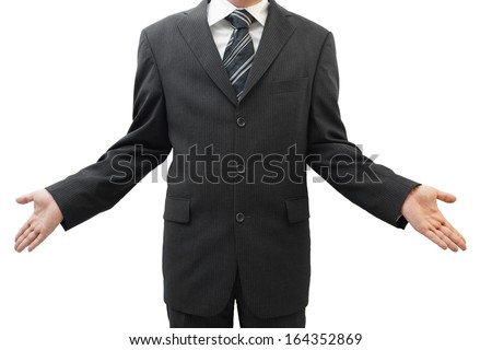 business man showing open hands, concept who cares, so what