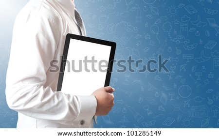 Business man showing tablet PC with blank white screen - stock photo