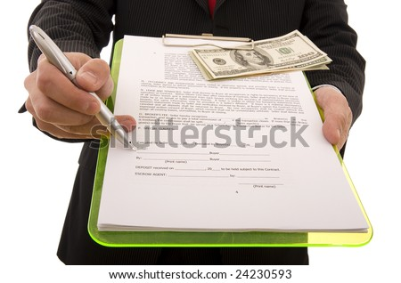 Business man showing the place where the seller must sign the contract (home made contract) - stock photo