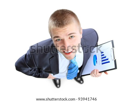 Business man showing the upward trend of a graphic chart. - stock photo
