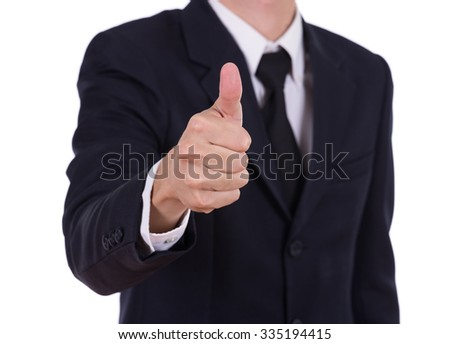 business man showing thumb up gesture isolated on white background - stock photo