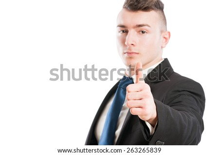 Business man showing thumb up on white background - stock photo