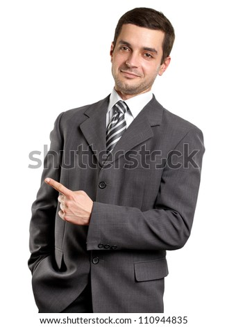 Business man shows something with his finger - stock photo