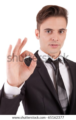 Business man signaling ok - isolated over white - stock photo