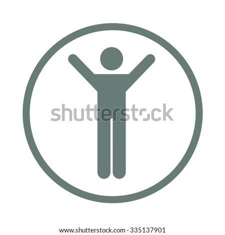 Business Man Silhouette Excited Hold Hands Up Raised Arms, Busin - stock photo