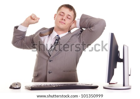 business man sitting at a laptop on a white - stock photo