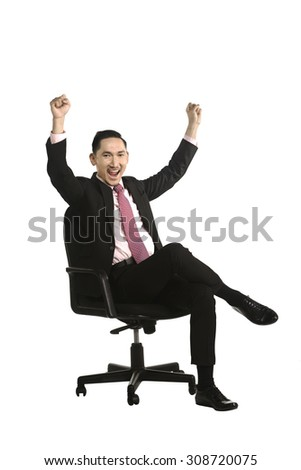 Business man sitting on the chair isolated over white background