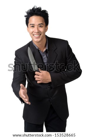 Business man  smile shook hands and Hold knife isolated