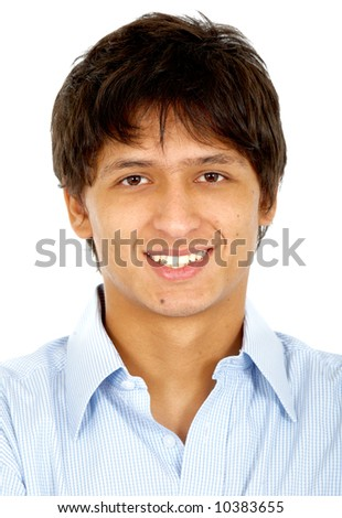 business man smiling isolated over a white background