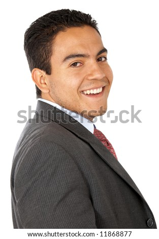business man smiling isolated over a white background - stock photo