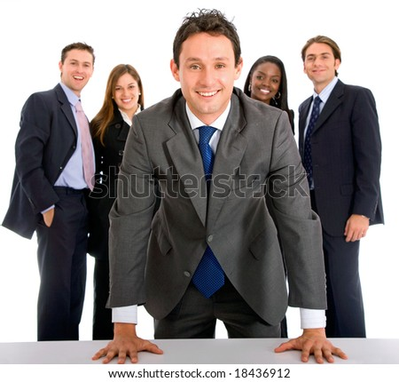 business man smiling leading a team isolated over a white background - stock photo