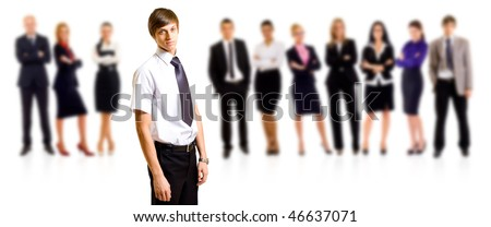 business man smiling leading a team over white
