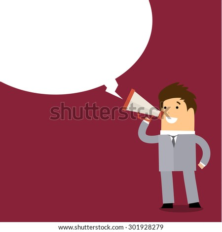 Business man speaking through megaphone with speech bubble for your text or your design. Flat design - stock photo