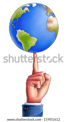 Business man spinning an earth globe on the top of his finger. Mixed media illustration. - stock photo