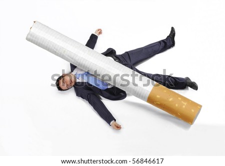 Business man squashed by a cigarette on white background. - stock photo