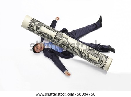 Business man squashed by a rolled bill on white background. - stock photo