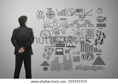 Business man standing and looking at business concept on wall