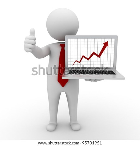 Business man standing and showing growth progress graph chart from laptop computer and thumbs up on white background