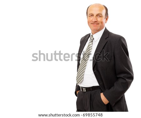 business man standing isolated on white - stock photo