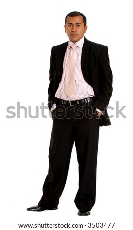 business man standing isolated over a white background - stock photo