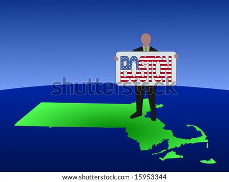 business man standing on map of Massachusetts with Boston text sign JPG - stock photo