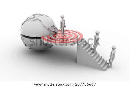 Business man standing  on target sign other men stepping up to his successful goal ,business concept - stock photo