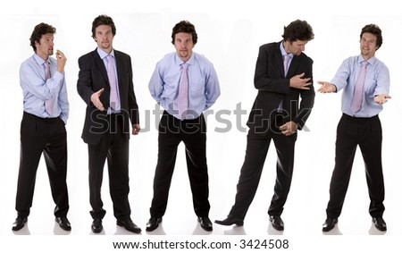 business man standing on white isolated backgound expressions - stock photo
